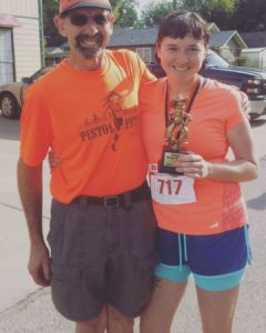Anna and her father at the Pistol Pete 5k.